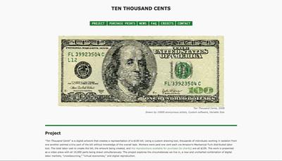 図3 10,000個に分割した100ドル紙幣を再描画するプロジェクト,「Ten Thousand Cents」