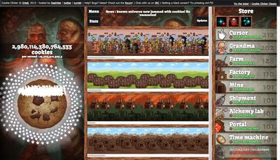 図7 プレイ時間が600時間を超えた『Cookie Clicker』の画面