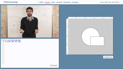 図2 動画やコードを見ながら,楽しく「Processing」が学べる