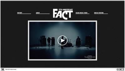 図1 結成15周年を記念した「FACT」の特設サイト,『FACT 15TH ANNIVERSARY WEB SITE』