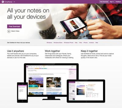 図1 『Microsoft Office Online』と同時期に開始された『OneNote.com』