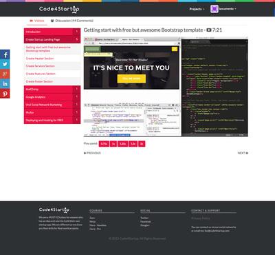 図2『Code4Startup』では,動画を見ながら,スタートアップに必要な技術を学んでいく