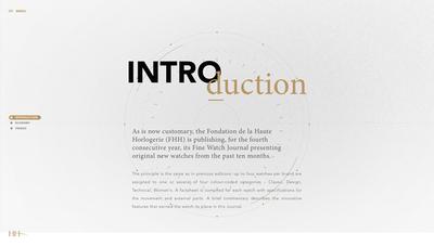 図1 スイスの高級時計財団,Fondation de la Haute Horlogerie(FHH)による,2015年の高級時計の新モデルとトレンドを紹介した『New Models and Trends in Fine Watchmaking』。さりげないアニメーションがウェブサイトの世界観を引き立てている