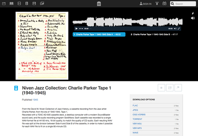 図6 アーカイブのひとつ,1940〜1945年のジャズアーティスト,Charlie Parker(チャーリー・パーカー)の音源を集めたもの