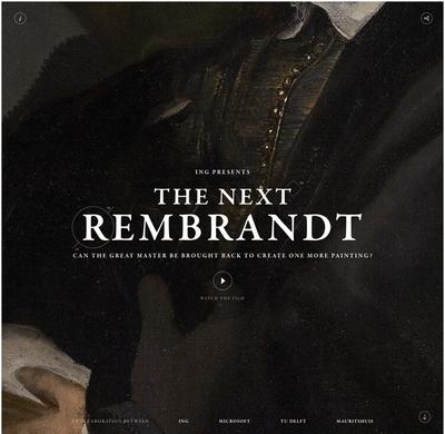 図1 現代にレンブラントの新作を生み出すプロジェクト,「The Next Rembrandt」のウェブサイト