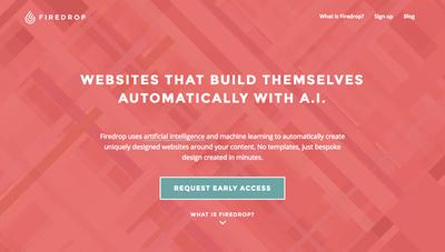 図2 人工知能を使って時間とともにウェブサイトの改善も自動的に行うという「Firedrop」のウェブサイト