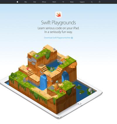 図1 AppleのiPad用アプリ,「Swift Playgrounds」を紹介するウェブサイト