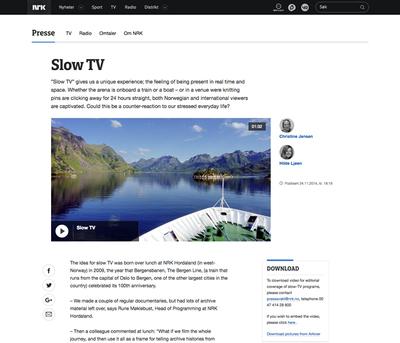 図2 NRK(ノルウェー放送協会)の「スローテレビ」を紹介するページ