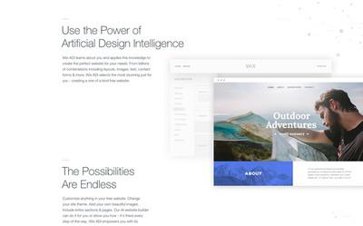 図2 Wix.comによる,人工知能を利用したウェブデザインサービス『Wix ADI』。ユーザーの目的に合わせて,レイアウトや画像などを自動的に最適化し,ウェブサイトを完成させる