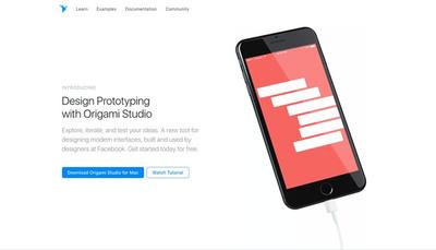 図3 Facebookのプロトタイピングツール『Origami Studio』。用意されたパーツを使い,効率よく動きを含めたビジュアルデザインが制作するだけでなく,制作したプロトタイプを実機に入れて持ち運べる機能も備えている