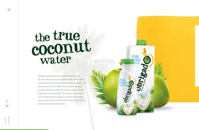 図5 ブラジルの飲料会社Obrigado Naturalのウェブサイト『Obrigado® Coconut Water』では,横にスクロールしながらココナッツウォーターを紹介している