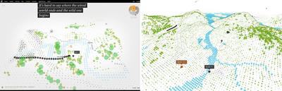 図5 演出方法が多少異なるが,内容は変わらない(左:2011年のFlashバージョン,右:再構築されたWebVR対応バージョン)