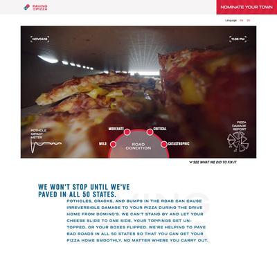 図3 Domino's Pizzaによる新プロジェクト<wbr/>「Paving for Pizza」<wbr/>のウェブサイト<wbr/>『Domino's Paving for Pizza』<wbr/>