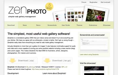図1 Zenphoto公式サイト トップページ
