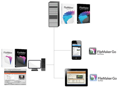 図1 FileMaker Serverにファイルをホストし,FileMaker Pro/FileMaker Goで利用