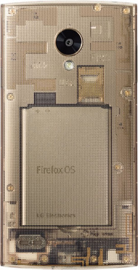 内部の基板が見える透明なボディ。Firefox OSが持つオープン性を表現している