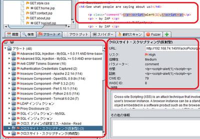 図5 動的スキャン機能を実行し,脆弱性を検出(赤枠のように検出された脆弱性一覧,検出根拠を確認可能)