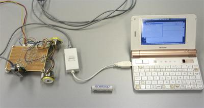 今回のシステムの全容,装置本体とコントローラであるSharp NetWalkerをLANケーブルでつないだだけです