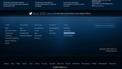 図2 Twitterのアプリ開発者ページ下部