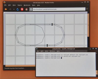 rail22.txtをrailconf.txtにコピーしたときのシミュレータ画面