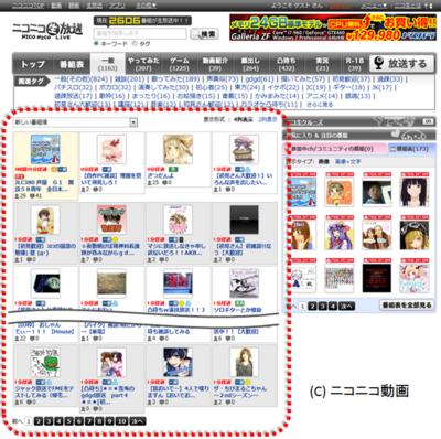 図1 ニコニコ生放送のユーザー生放送一覧(赤枠囲み部)