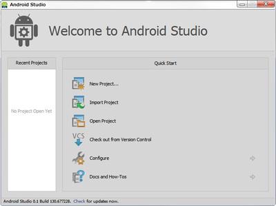 図5 Android Studioのウェルカム画面