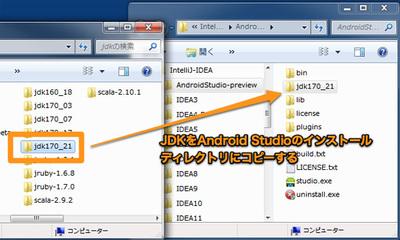 図6 JDKをAndroid Studioのインストールディレクトリにコピー