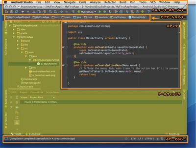 図5 Android Studioの画面構成