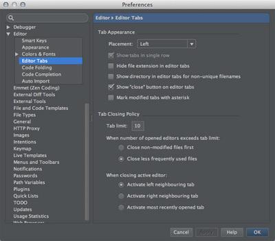 図7 「Preferences / Edior / Editor Tabs」