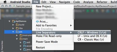 図18 メニューバー「File → Line Separators」で改行コードの一括変換