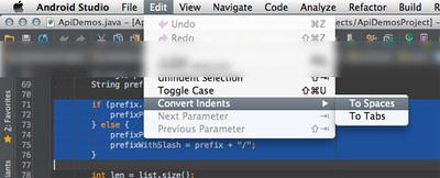 図22 メニューバー「Editor → Convert Indents」でタブ⇔スペース変換
