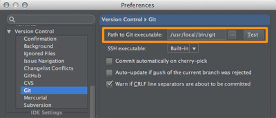 図1 「Preferences / Version Control / Git」設定画面