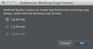 図5 「Subversion Working Copy Format」ダイアログ