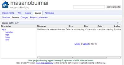 図2 Google Code上のSubversionリポジトリの初期状態