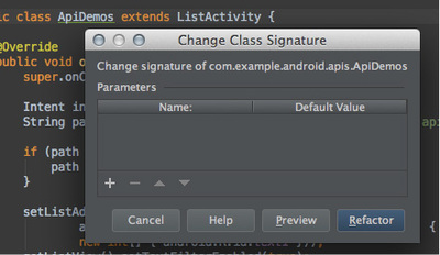 図2 「Change Class Signature」ダイアログ(クラスの時)