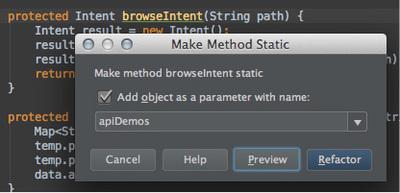 図5 「Make Method Static」ダイアログ