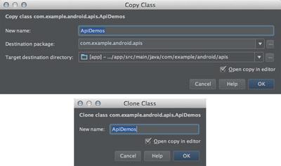 図8 「Copy」ダイアログ(上)と「Clone」ダイアログ(下)