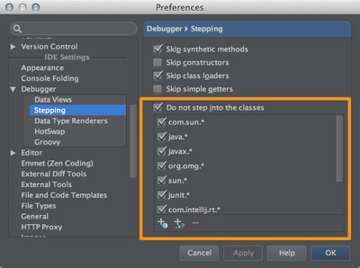 図44 「Preferences / Debugger / Stepping」設定画面