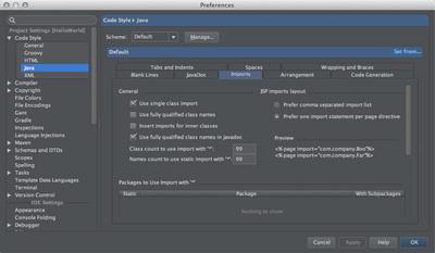 図2 「Preferences / Code Style / Java」設定画面の「imports」タブ