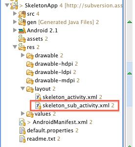 図2 「res/layout」フォルダ以下に,作成したskeleton_sub_activity.xmlが追加された。