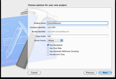 図5 Choose options for your new projectダイアログ