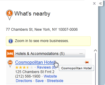 図1 Bing Maps 検索結果