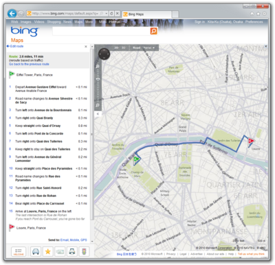 図1 Bing Mapsの経路探索サービス