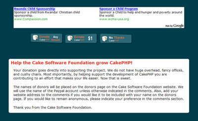 図2 Help the Cake Software Foundation grow CakePHP!.寄付の呼びかけ