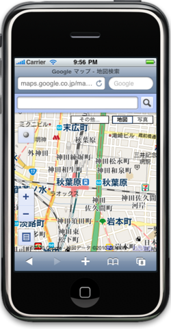 図2 iPhoneからhttp://Gyamp.com/test/mapにアクセス