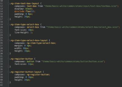 図2 近日リリース予定のニコニコ生放送HTML5プレーヤ開発で使われているCSSの一部。CSS Modulesを利用して可読性の向上とコンポーネント単位での管理を実現した