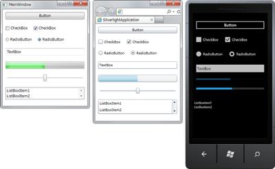 図1 リスト1のXAMLをWPF,Silverlight,Windows Phone 7で表示した結果