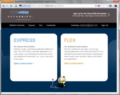 図1 OpenShiftのトップページ。サインインするとコントロールパネルが利用できる