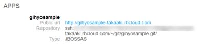 図6 アプリケーションが作成されると,公開URLとgitリポジトリのURLが表示される