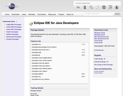 Eclipseのダウンロードページ
